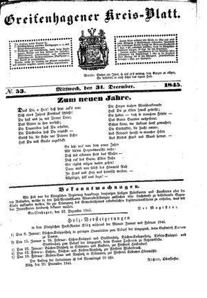 Greifenhagener Kreisblatt vom 31.12.1845