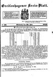 Greifenhagener Kreisblatt (22.07.1846)