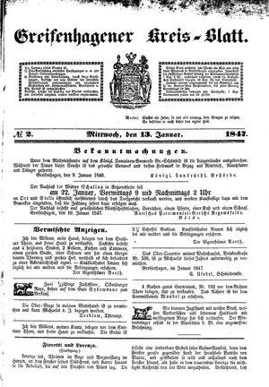 Greifenhagener Kreisblatt vom 13.01.1847