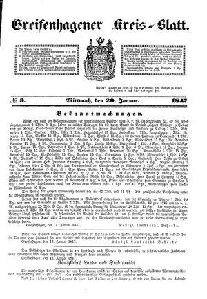 Greifenhagener Kreisblatt vom 20.01.1847