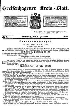 Greifenhagener Kreisblatt vom 03.02.1847
