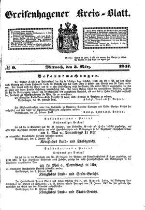 Greifenhagener Kreisblatt vom 03.03.1847