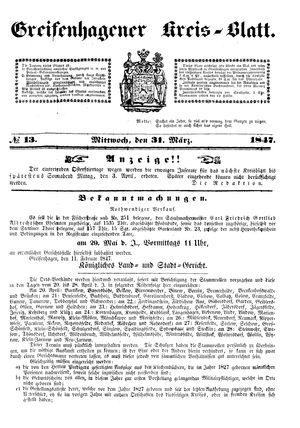 Greifenhagener Kreisblatt vom 31.03.1847