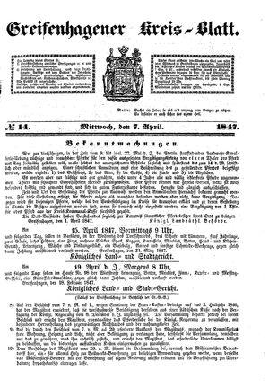 Greifenhagener Kreisblatt vom 07.04.1847
