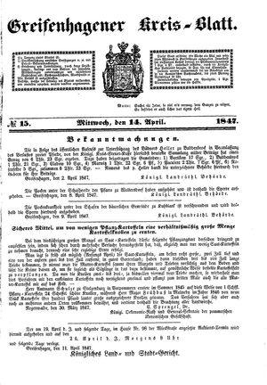 Greifenhagener Kreisblatt on Apr 14, 1847