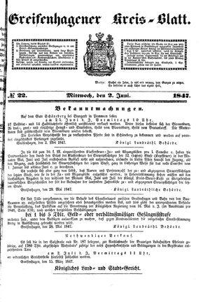 Greifenhagener Kreisblatt vom 02.06.1847