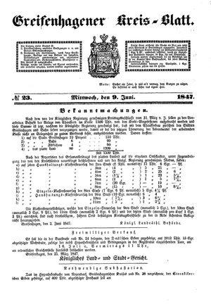 Greifenhagener Kreisblatt vom 09.06.1847
