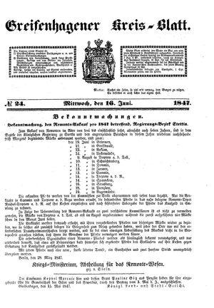 Greifenhagener Kreisblatt vom 16.06.1847
