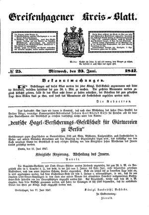 Greifenhagener Kreisblatt vom 23.06.1847