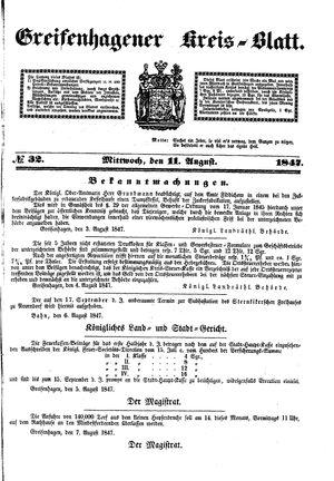Greifenhagener Kreisblatt vom 11.08.1847