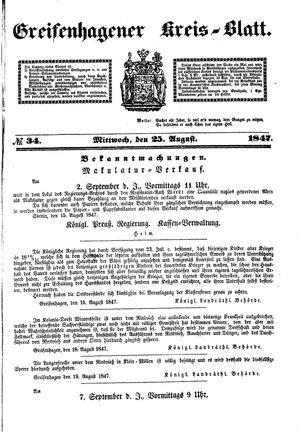 Greifenhagener Kreisblatt vom 25.08.1847