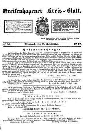 Greifenhagener Kreisblatt vom 08.09.1847