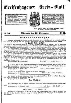 Greifenhagener Kreisblatt vom 22.09.1847