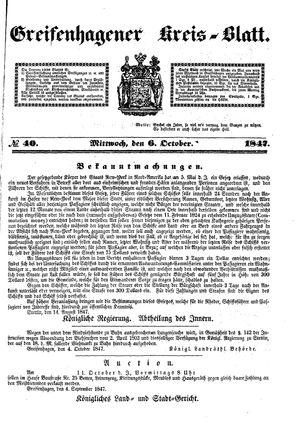 Greifenhagener Kreisblatt on Oct 6, 1847