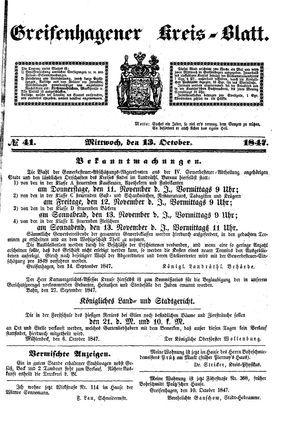 Greifenhagener Kreisblatt vom 13.10.1847