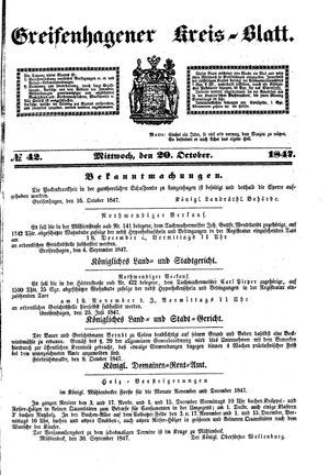 Greifenhagener Kreisblatt vom 20.10.1847