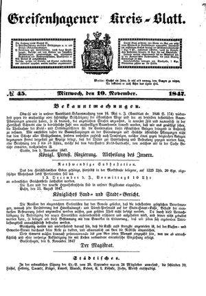 Greifenhagener Kreisblatt vom 10.11.1847
