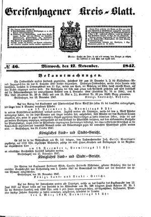 Greifenhagener Kreisblatt vom 17.11.1847