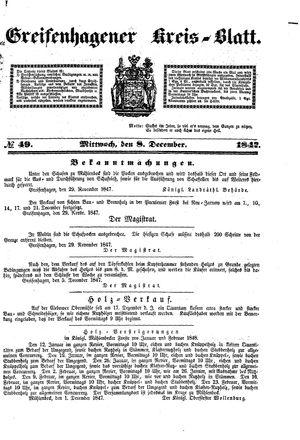 Greifenhagener Kreisblatt vom 08.12.1847