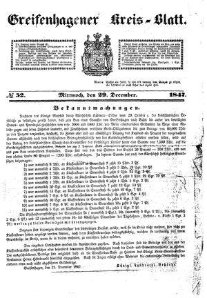 Greifenhagener Kreisblatt vom 29.12.1847
