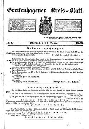 Greifenhagener Kreisblatt vom 05.01.1848