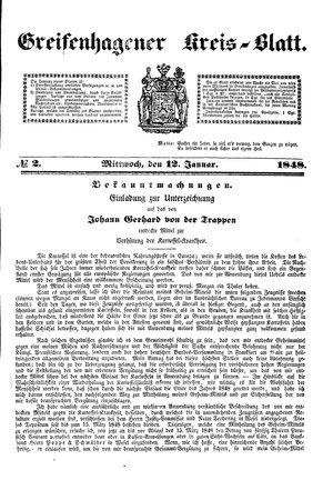 Greifenhagener Kreisblatt vom 12.01.1848