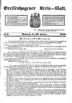 Greifenhagener Kreisblatt vom 19.01.1848