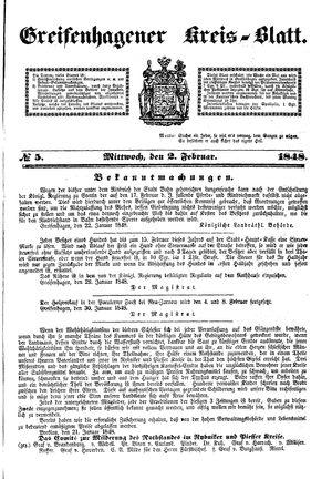 Greifenhagener Kreisblatt vom 02.02.1848