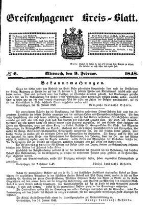 Greifenhagener Kreisblatt vom 09.02.1848