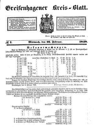 Greifenhagener Kreisblatt vom 16.02.1848