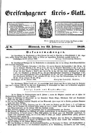 Greifenhagener Kreisblatt vom 23.02.1848