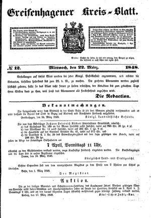 Greifenhagener Kreisblatt vom 22.03.1848