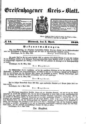 Greifenhagener Kreisblatt vom 05.04.1848