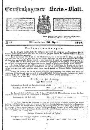 Greifenhagener Kreisblatt vom 26.04.1848