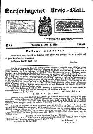 Greifenhagener Kreisblatt vom 03.05.1848