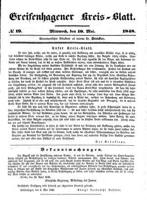 Greifenhagener Kreisblatt vom 10.05.1848