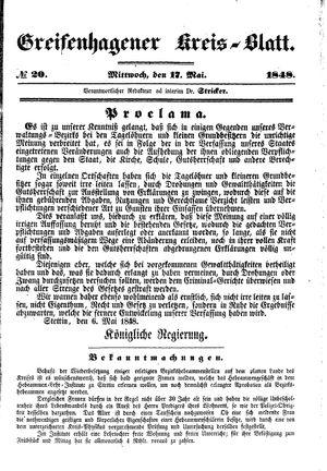 Greifenhagener Kreisblatt vom 17.05.1848