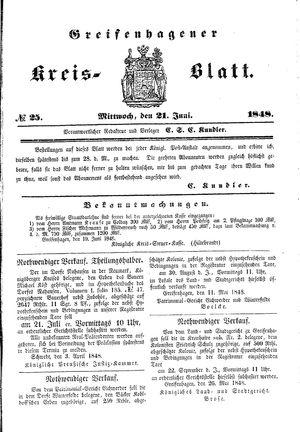 Greifenhagener Kreisblatt vom 21.06.1848