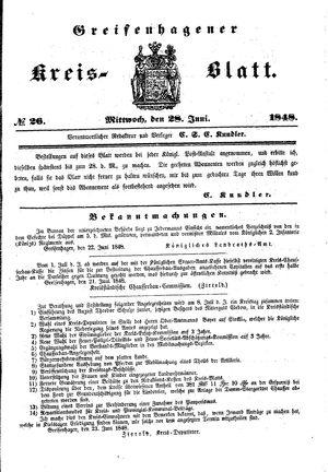 Greifenhagener Kreisblatt vom 28.06.1848