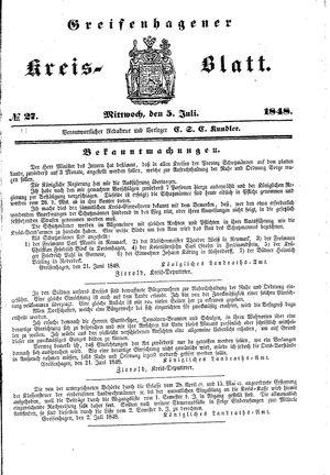 Greifenhagener Kreisblatt vom 05.07.1848