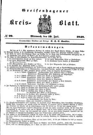 Greifenhagener Kreisblatt vom 19.07.1848