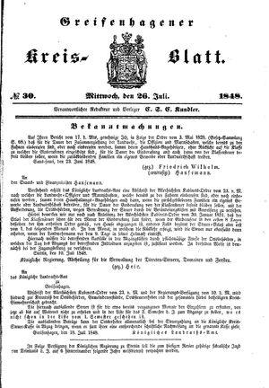 Greifenhagener Kreisblatt on Jul 26, 1848