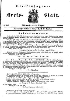 Greifenhagener Kreisblatt vom 02.08.1848