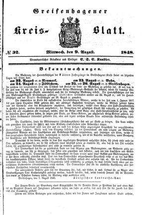 Greifenhagener Kreisblatt vom 09.08.1848