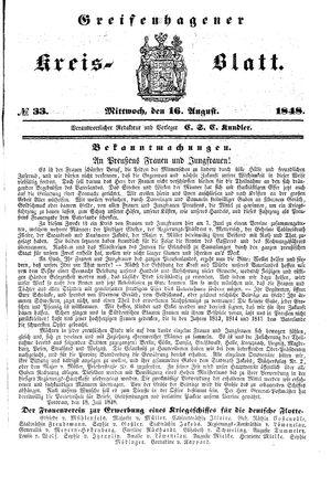 Greifenhagener Kreisblatt vom 16.08.1848