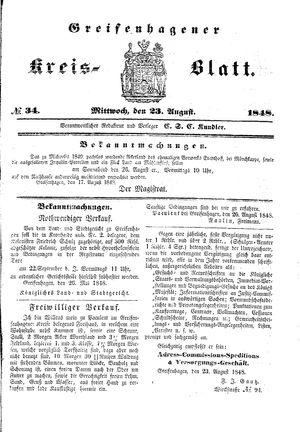 Greifenhagener Kreisblatt vom 23.08.1848