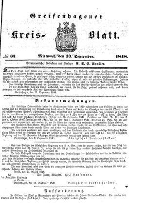 Greifenhagener Kreisblatt vom 13.09.1848