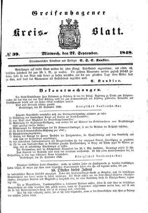 Greifenhagener Kreisblatt on Sep 27, 1848