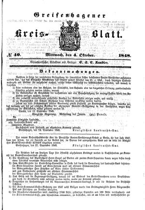 Greifenhagener Kreisblatt vom 04.10.1848