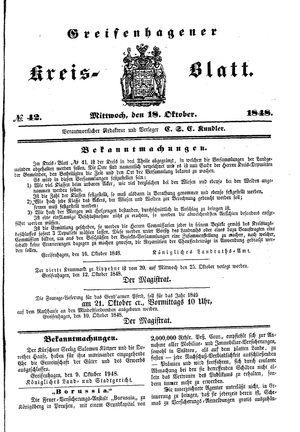 Greifenhagener Kreisblatt vom 18.10.1848